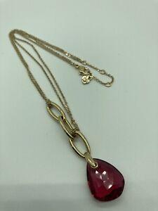 Authentic Swarovski Gold Tone Necklace & Crystal Fuchsia Pink Teardrop Pendant