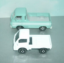 Two 1/64 Scale Compact Cabover Diecast Mini Trucks (Subaru Sambar & Dodge A100)