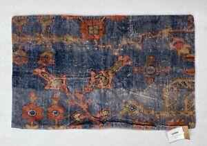 "NEW Pottery Barn Dara Printed Velvet 16"" x 26"" Lumbar Pillow Cover~Blue Multi"