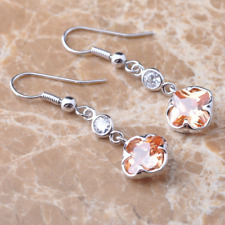 Earrings 9ct White Gold GF Champagne Morganite Hook Drop Gift Mother Summer New