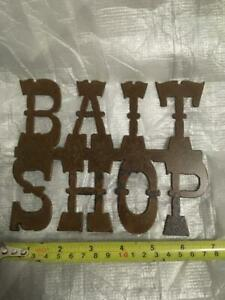 """New ROCKIN B Metal FISHING SIGNS Bait Shop 5.5"""" x 7"""" Aged Carbon Steel SIGN"""