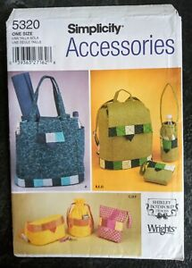 Simplicity 5320 Accessories Sewing Pattern Patchwork Bags, Back Pack/Bottle Bag