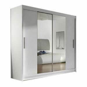 """Modern Wardrobe """"BRAVA 2"""" WHITE Sliding Doors Mirror Hanging Rail Shelves 180 cm"""