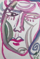 EXPRESSIONIST PORTRAIT WATERCOLOR PAINTING SIGNED