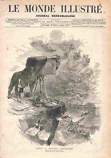 Objectif Appareil Photo avec Chambre Noire Dessin de Edmond Morin GRAVURE 1878