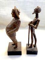 Vtg Hand Carved Wooden Figures, Don Quixote & Sancho Panza, Spain OURO Artesania