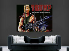 Donald Trump cartel Gracioso Rambo Película Póster Gracioso pistola comedia presidente EE. UU. impresión
