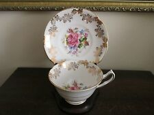 Collingwood England Bone China Tea Cup And Saucer Cabbage Pink Rose Flowers Gold
