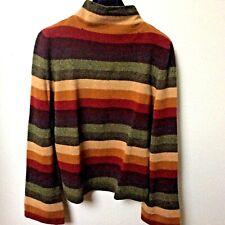 Oscar de la Renta, Cashmere Mock Neck Sweater, Multicolor Stripe, L