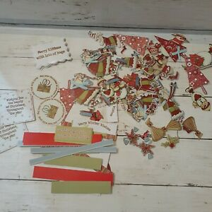 Large Lot of Scrapbook Christmas Paper Cut Outs Snowman Santa Trees Quotes (H33)