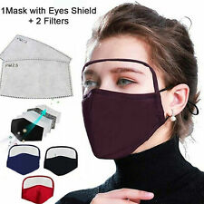 Cotton Dustproof Outdoor Face Protective Face Mask with Eyes Shield + 2 Filters