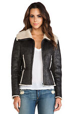 VELVET By Graham & Spencer Aviator Faux Fur Zip Up Cozy Jacket Coat Black S $286