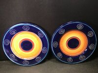 "2   PIER 1   hand painted earthenware """" ITALIAN SWIRL"" dinner plates 11 1/2''"
