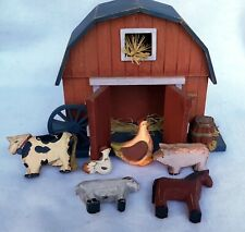 Delton Product Corp Wooden Barn with Animals Play Set