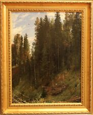 Russia SHISHKIN Ivan 1832-1898 Spruce Forest on the Hillside Oil Art Original