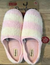 Dearfoams $28 Knit Clog Memory Foam Slippers Women's XL 11-12 Pink Stripe NWT