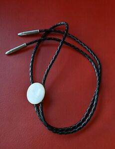 Black BOLO TIE Round Button Mother of Pearl Silvertone Ammo Shells  Accents