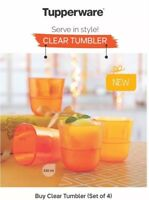 Tupperware Clear tumbler 230 ml each- Set of 2- Plastic Small Clear Glasses NEW!