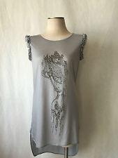 Thomas Wylde Grey Embellished Sleeveless Tunic Shirt, Dress New Size L.