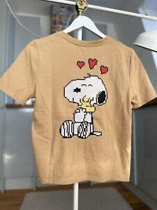 Zara Snoopy Peanuts T-shirt tee Size M Medium with pocket and back print BNWT