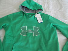NEW Womens UNDER ARMOUR CLDGR STORM Hoodie Grn EMBROIDERED BIG LOGO LG FREE SHIP