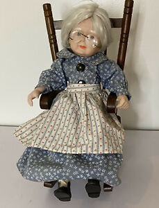 Vtg Silver-Haired Porcelain Grandma Doll and Rocking Chair Porcelain and Cloth