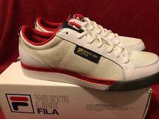 Fila RETRO BORG White Line Tennis Shoes White Red Mens Size 12 Rare NIB!