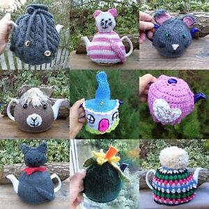 hand knitted tea cosy - Selection of designs to buy separately - alpaca cat rose