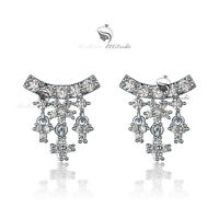 18k gold gf made with SWAROVSKI crystal stud earrings 925 silver
