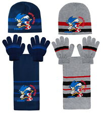 Boys Sonic The Hedgehog Woolly Hat + Scarf + Gloves Winter Set Kids Sega Gift