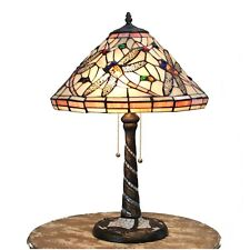 Dragon Fly Tiffany Real Glass Table Lamp Antique Style Mosaic Tile Base Stunning