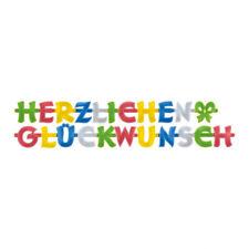 Buchstabenkette Girlande Herzlichen Glückwunsch 2,00 m Partykette Bunt NEU