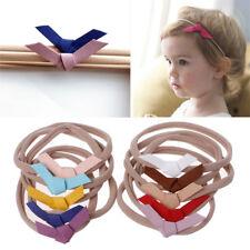 10 Pcs Newborn Headwear Hair Bows Hair Band Leather Bow Elastic Nylon Headband