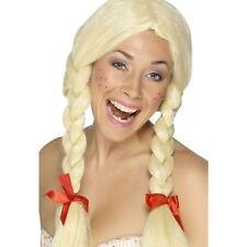 Adult Ladies Blonde Schoolgirl Dutch Bavarian Plait Wig Fancy Dress Hen Do Party