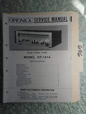 Optonica st-1414 Sharp service manual original repair book stereo tuner receiver