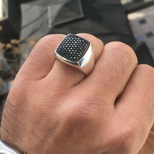 925 Sterling Silver Mens Pave Signet Ring Black Diamond Elegant Artisan Jewelry