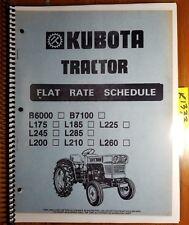 Kubota B6000 B7100 L175 L185 L200 L210 L225 L245 L260 L285 Flat Rate Manual