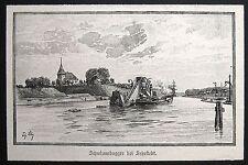 Sehestedt, Büdelsdorf – Nordostseekanal. Originaler Holztich 1895: