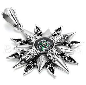 Men's Vintage Stainless Steel Titan Compass Pendant Necklace Chain Unique Design