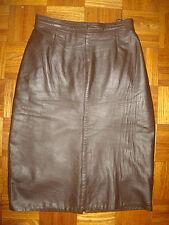 Vintage Soft Leather Straight Pencil High Waist Midi Dress Skirt S 8 10