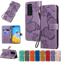 Butterfly Wallet Leather Flip Case Cover For Huawei P40 Lite P30 Lite P20 Lite