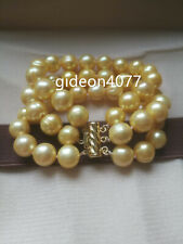 3 ROW natural AAA  10-11MM SOUTH SEA golden PEARL BRACELET 14K GOLD 7.5-8""