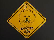 Samoyed On Board Dog Breed Yellow Car Swing Sign Gift