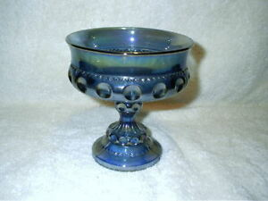 Vintage Kings Crown Blue Carnival Glass Thumb Print Candy Dish Bowl Pedestal