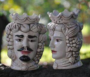Coppia teste di moro in ceramica giardini di marzo bianco invecchiato h 18cm