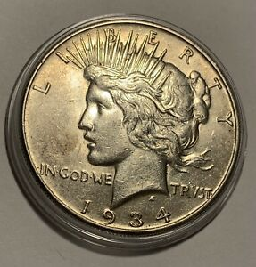 1934-S Peace silver dollar AU Key Date rare coin toning/luster San Francisco