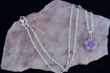 Purple Enamel Peach Blossom Flower, 925 Silver Plated Chain Necklace. Handmade