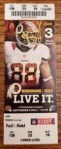 Washington Redskins Philadelphia Eagles Football Ticket 9/9 2013 McCoy Vick Stub