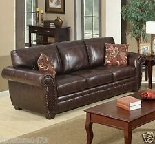 Brown Leather 3 Seater 2 Seater Armchair Footstool Sofa Suite Highbury 32 3 Seater