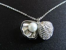 Clam Shell & Pearl Necklace - Beach Wedding Shell Necklace - Gift Boxed - New